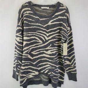 Zebra print heavy fuzzy cozy sweater NWT
